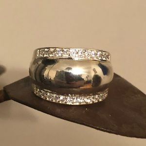 Jewelry - Wide Silver Toned Ring with Clear Accent Stones